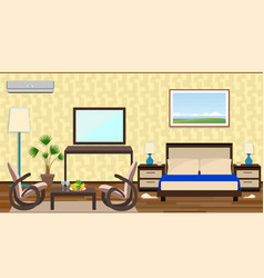 flat style interior of a hotel room with rest vector image vector image