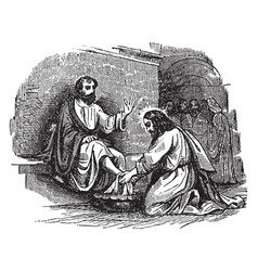 Jesus washes the feet of the simon peter at the vector