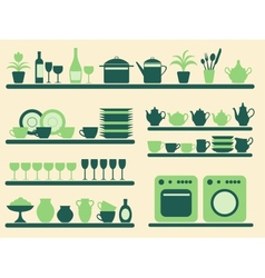 Kitchen objects silhouettes set vector image