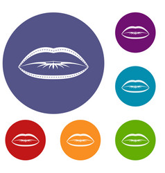 Lips with lines drawn around it icons set vector