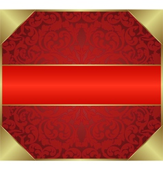 red background with floral ornaments vector image vector image