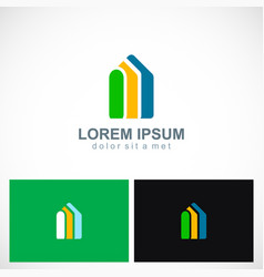 shape building realty colored company logo vector image vector image