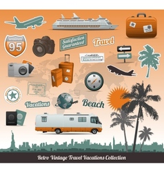 travel icons symbol collection vector image vector image