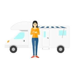 Woman standing in front of motor home vector image