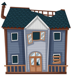 wooden house with bad condition vector image vector image
