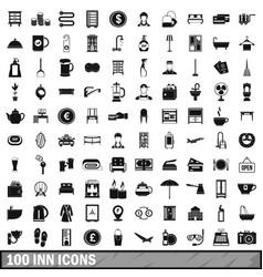100 inn icons set simple style vector