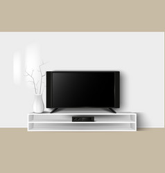 3d of led tv stand on a wooden vector image