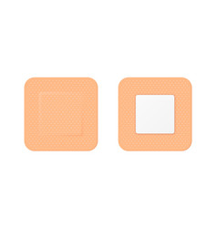 3d realistic square medical patch icon set vector