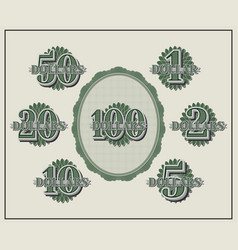 A set samples face values from 1 to 100 dollars vector