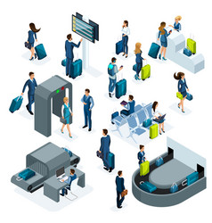 airport isometric icons set reception and passp vector image