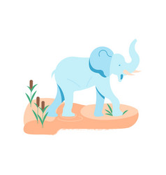 alone african elephant at the watering hole vector image