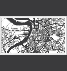 Antwerp belgium city map in black and white color vector