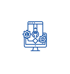 application and software develop line icon concept vector image