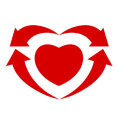 arrows heart icon simple style vector image