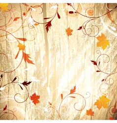 Autumn wooden background vector image