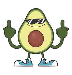 Avocado fruit cartoon with sunglasses character vector