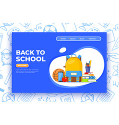 back to school banner backpack basketball ball vector image