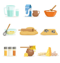 baking ingredients and kitchen tools and utensils vector image