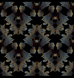 baroque dark black seamless pattern floral vector image