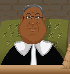 Black judge in a courtroom vector