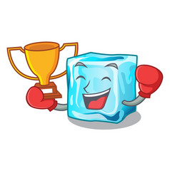 Boxing winner ice cubes on the cartoon funny vector
