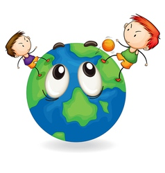 boys playing football on earth globe vector image