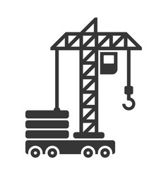 building construction crane icon on white vector image