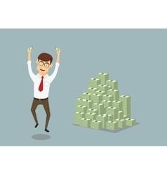 Businessman with huge pile dollar packs vector