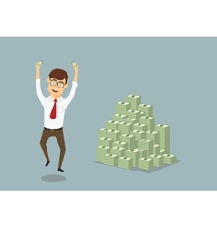 Businessman with huge pile of dollar packs vector