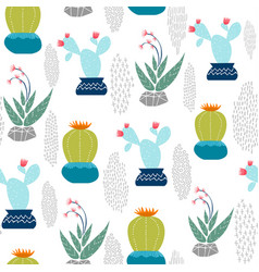Cactus plant decoration seamless pattern art vector