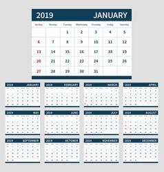 calendar planner 2019 template set 12 month vector image