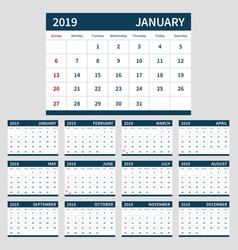 Calendar planner 2019 template set of 12 month vector