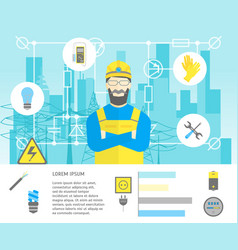 cartoon professional electrician worker man and vector image