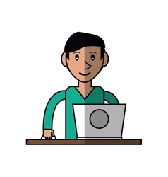 Cartoon young man using laptop on desk vector