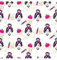 Chic girl face and purses fashion seamless pattern vector