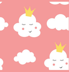 childrens seamless pattern background with cloud vector image