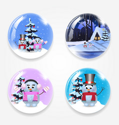 christmas new year round glass crystall ball vector image