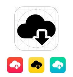 Cloud computing download icon vector
