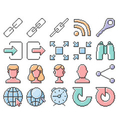 Collection outlined pixel icons user interface vector