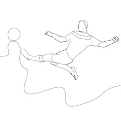 Continuous line soccer player kicking a ball vector