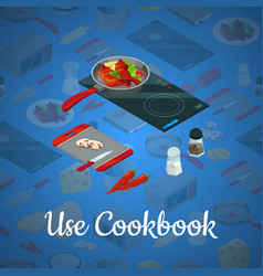 cooking food isometric blue background vector image