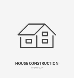 Country house flat line icon real estate sign vector