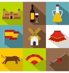 Country Spain icons set flat style vector