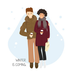 couple with hot chocolate vector image