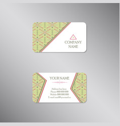 creative business card with tribal green ornament vector image