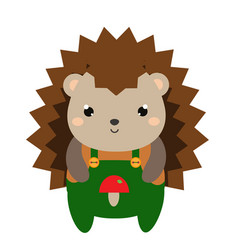cute hedgehog in green jumpsuit cartoon kawaii vector image