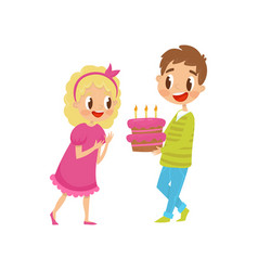 Cute little kids at party boy holding birthday vector