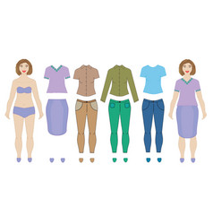 Dolls woman and collection clothes vector