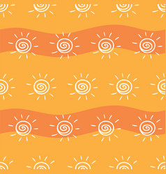 drawing sun on yellow and orange striped vector image