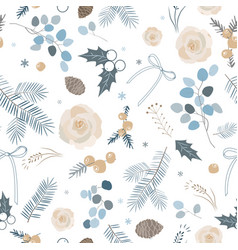 Elegant winter seamless pattern pastel palette vector